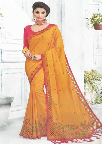 Mustard Yellow with Peach Color Fancy Saree-FS7566 ARRS Silks