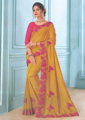 Mustard yellow with Pink Color Fancy Saree-FS7570 ARRS Silks