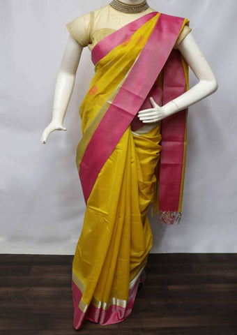 Mustard Yellow with Pink  Pure Silk Cotton Saree - FV10351 ARRS Silks