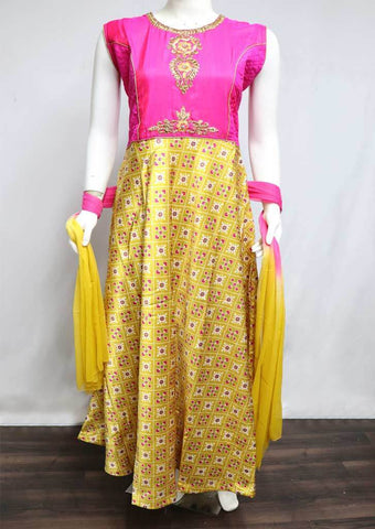Mustard Yellow with Pink Readymade Salwar-FT1520 ARRS Silks