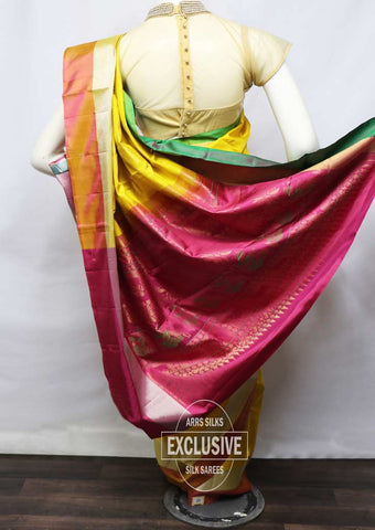 Mustard Yellow With Pink Soft Silk Saree - FU45106 ARRS Silks