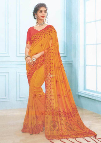 Mustard yellow with Red Designer Saree-FS7555 ARRS Silks