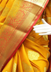 Mustard Yellow with Red Mysore Silk Saree - FR59165 ARRS Silks