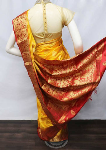 Mustard Yellow with Red Semi Raw Silk Saree - FS8230 ARRS Silks