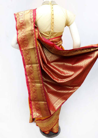 Mustard Yellow with Red Semi Silk Saree - FS43773 ARRS Silks