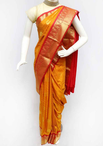 Mustard Yellow with Red Semi Silk Saree- FS43902 ARRS Silks