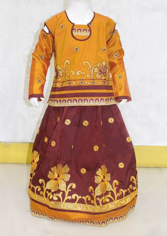Musted Yellow With Brown Pattu Pavadai - FO21260 ARRS Silks
