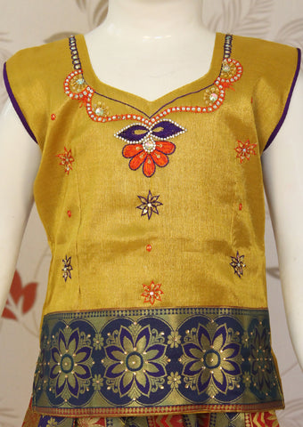 Mustard Yellow with Red Multi Top Art Silk Pavadai