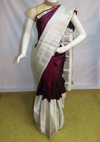 Naaval Color with White Kanchipuram Silk Saree-FM83176 ARRS Silks