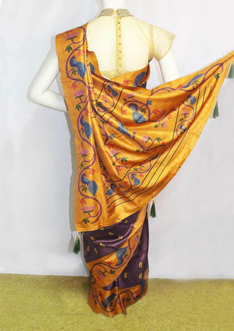 Naaval with Mustad yellow Banaras Silk Cotton Saree - FK19143 ARRS Silks