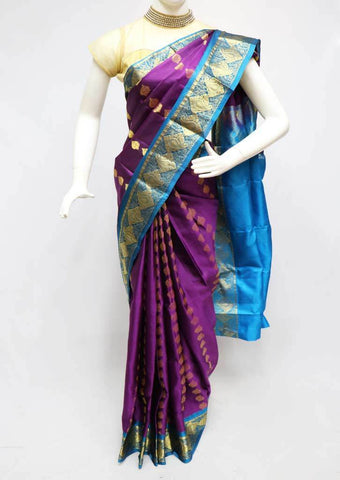 Naval color with Skyblue  Kanchipuram Silk Saree -FQ31415 ARRS Silks