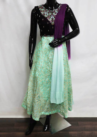 Naval With Aqua Green Organza Readymade Salwar- FA11806 ARRS Silks