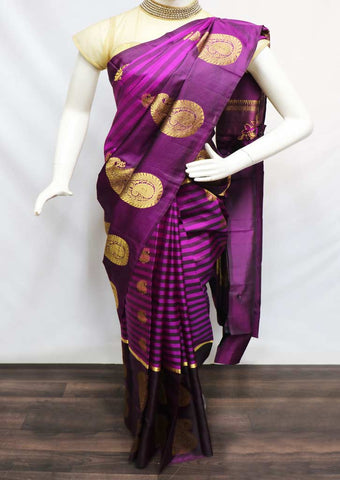 Naval With Golden Kanchipuram Silk Saree - FV3344 ARRS Silks