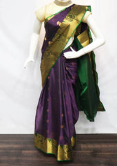 Naval With Green Silk Cotton Saree - FV28280 ARRS Silks