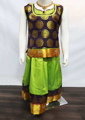 Navapala color with Green Pattu Pavadai - FR21813(Size: 6 Years) ARRS Silks