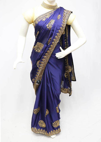 Navy blue Designer Saree-FS26377 ARRS Silks