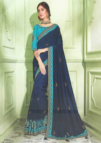 Navy Blue Designer Saree - FS31718 ARRS Silks