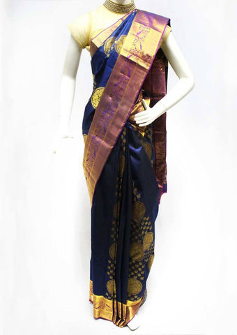 Navy Blue Kanchipuram Silk Saree - FQ111675 ARRS Silks