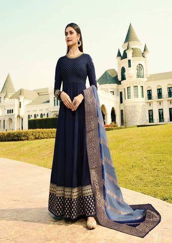 Navy blue Long Anarkali Raw Silk Grand Chudi Material-FQ92987 ARRS Silks