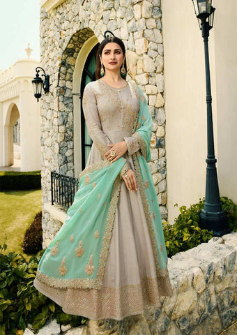 Navy blue Long Anarkali Raw Silk Grand Chudi Material-FQ92987 ARRS Silks Salem