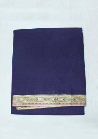 Navy Blue Pure Cotton 9.5 yards Saree - F096377 ARRS Silks