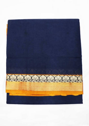 Navy Blue Pure Cotton 9.5 yards Saree - FT13330 ARRS Silks