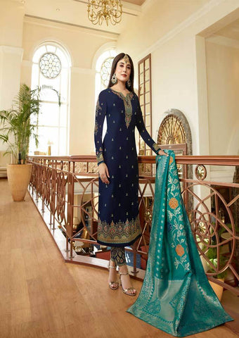 Navy Blue Satin Georgette Grand Chudi Material -FQ67168 ARRS Silks