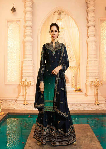 Navy blue Satin Georgette Grand Chudi Material -FQ67211 ARRS Silks