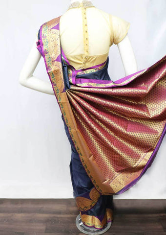 Navy Blue Semi Silk Saree - FT5218 ARRS Silks