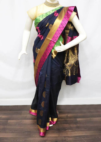 Navy blue Silk Cotton Saree - HBN7757 ARRS Silks