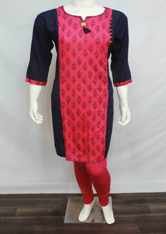 Navy Blue with Dark Pink Colour and Printed Rayon Crep Kurti - FO48613 ARRS Silks
