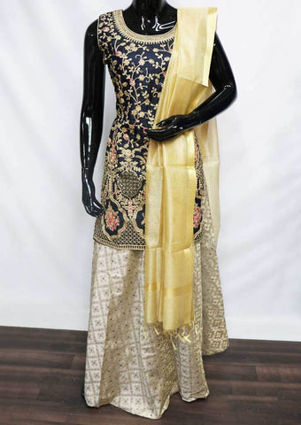 Navy Blue With Golden Masthani - FU47088 ARRS Silks