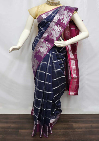 Navy Blue with Naaval Silk Cotton Sarees - FZ17372 ARRS Silks