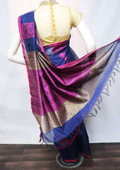 Navy Blue with Pink Pure Silk Cotton Saree - FV10459 ARRS Silks