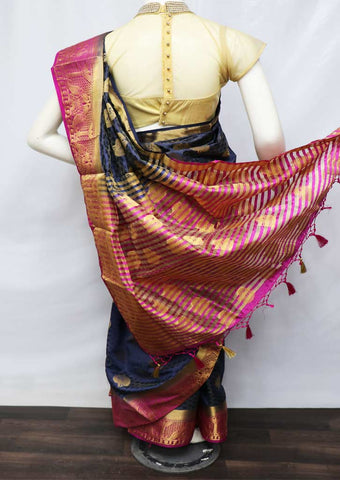 Navy Blue With Pink Semi Raw Silk Saree - HBN0006 ARRS Silks