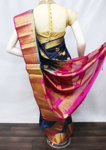 Navy Blue with Pink Semi Raw Silk Saree - HBN13655 ARRS Silks