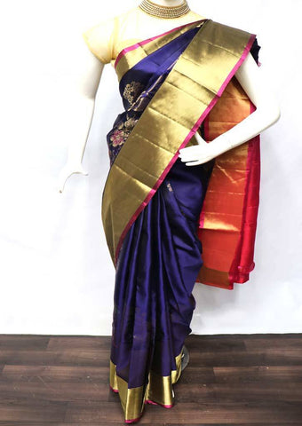 Navy Blue with Pink Soft Silk Saree - FU44124 ARRS Silks