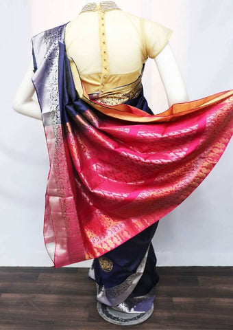 Navy Blue with Pink Soft Silk Saree - FU45118 ARRS Silks