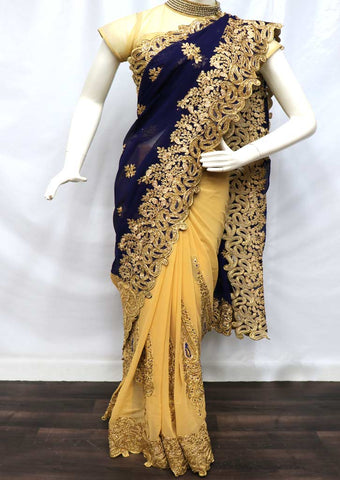 Navy Blue with Sandal  Designer Saree - FN58771 ARRS Silks
