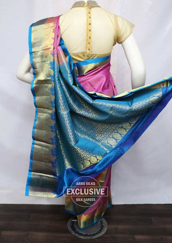 Onion Pink with Ramar Blue Kanchipuram Silk Saree - FV5180 ARRS Silks