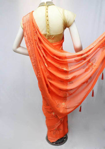 Orange Chiffon Saree-FR83324 ARRS Silks