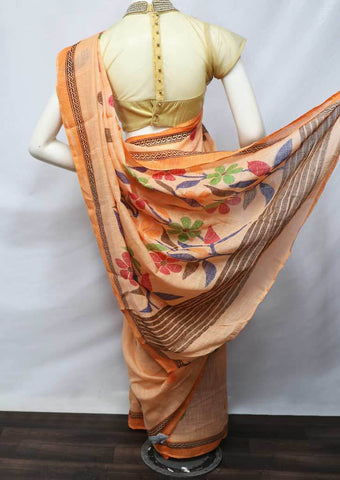 Orange Color Linen  Saree - FV32203 ARRS Silks