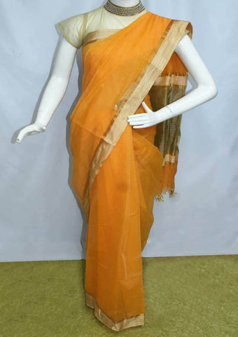 Orange Fancy Cotton Saree - FO77902 ARRS Silks