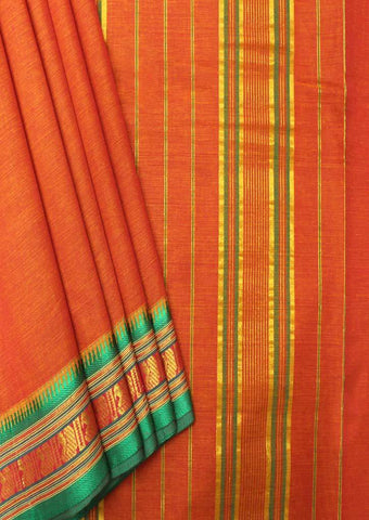 Orange Pure Cotton 9.5 yards Saree - FP54211 ARRS Silks