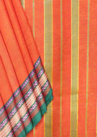 Orange Pure Cotton 9.5 yards Saree - FT13313 ARRS Silks