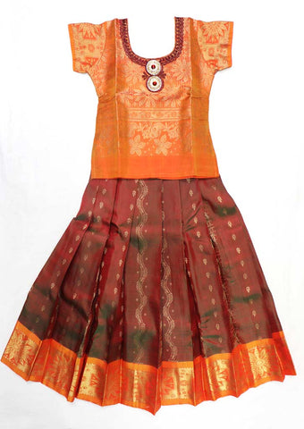 Orange Pure silk Stitched pattu pavadai - FX12575  ( Age-3 years) ARRS Silks