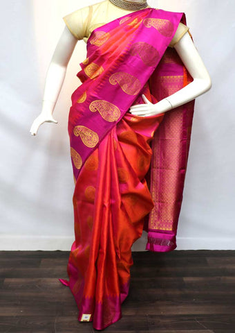 Orange Shade With Pink Kanchipuram Silk Saree - GB110928 ARRS Silks