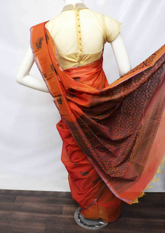 Orange Silk Cotton Saree - FU49184 ARRS Silks