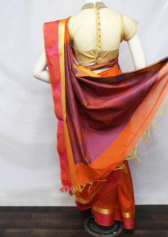 Orange Silk Cotton Saree - FV10387 ARRS Silks