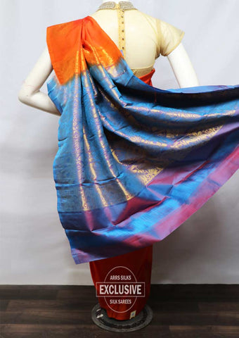 Orange With Blue  Kanchipuram Silk Saree - FU1451 ARRS Silks